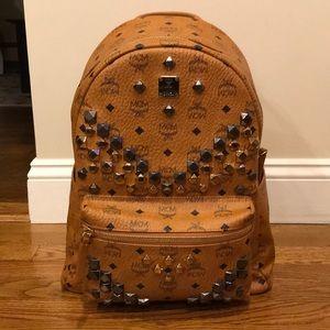 MCM Visetos Stark M Studded Cognac Backpack Bag